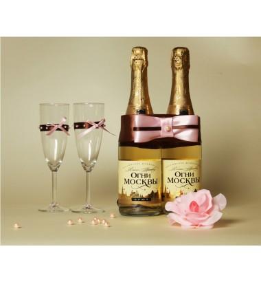 Свадебное шампанское украшение №3